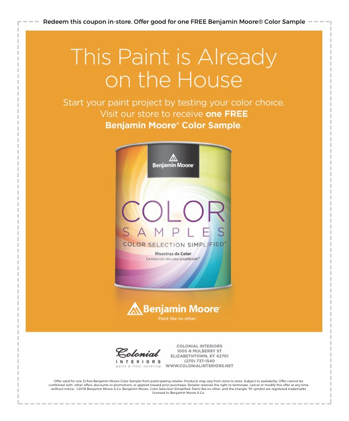 Free Color Sample Benjamin Moore paint | Colonial Interiors